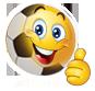 Emoticon adicto al fútbol de hoy, agradecido
